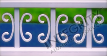 Decorative Butterfly Scrolls In White Positioned on Aluminum Vertical Picket Fencing