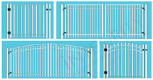 Collection of Aluminum Gates In Single-Leaf and Double-Leaf Straight and Arched Designs