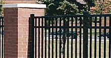 Aluminum Fence Attached To Brick Columns Using Posts