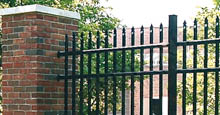 Aluminum Fence Attached To Brick Columns Using Rail Mounts
