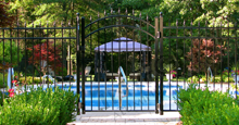 Mission Point Black Metal Pool Fence Panels and Gate With Finials