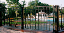 New Orleans Black Metal Pool Fence Panels and Gates With Historic Fleur de Lis Finials