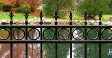 Providence Black Metal Pool Fence Panels With Historic Fleur de Lis Finials and Decorative Circles
