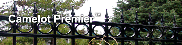 Camelot Ornamental Commercial Fence With Decorative Finials and Circle Enhancements