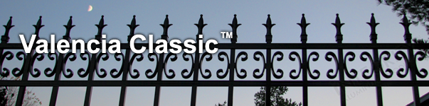 Valencia Ornamental Residential Fence With Historic Fleur de Lis Finials and Butterfly Scrolls