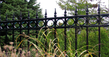 Camelot Black Metal Residential Fence Panels With Decorative Finials and Optional Circle Enhancements