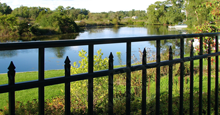 Sanibel Aluminum Commercial Fencing With Flattened Finials